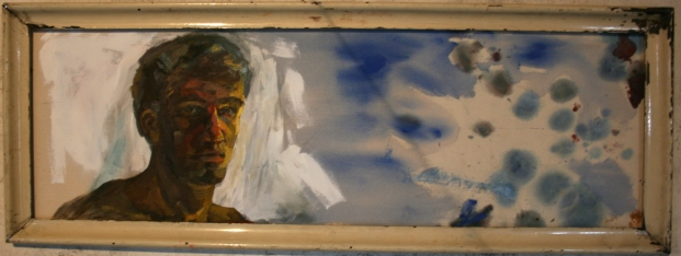 Self-portrait, oil on canvas, 130x50