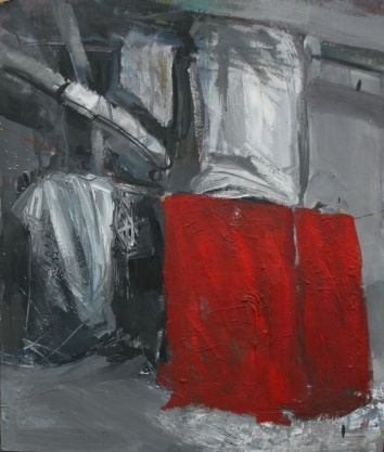 Red blanket, oil on wood, 50x38