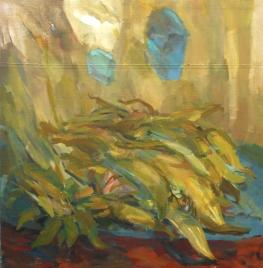 Corn leafs, oil on canvas, 90x90