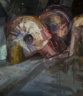 Unknown head, oil on wood, 50x40