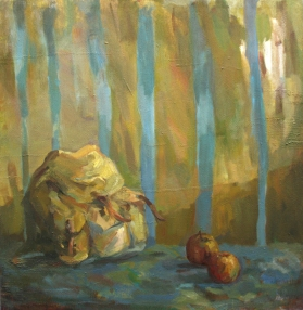 Bag and apples, oil on canvas, 90x90