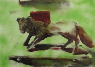 Fox, oil in paper, 23x33