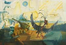 Metal little bird, oil on canvas, 125x180