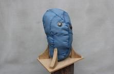 Blue head, leather, wood, metal, 37cm