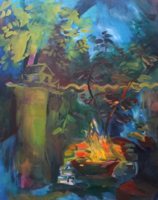 Fire place, oil, acrylic on canvas, 200x165