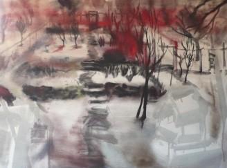 Winter garden I., oil on canvas, 90x120