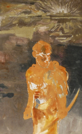 Treasure hunter I., ink, acrylic, paper on canvas, 145x90,5