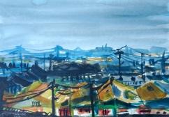 Village, ink on paper, 23x33