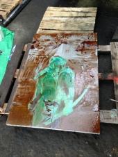 Painting on concrete blocks, colored acid, Showroom BOCA, Prague, 2016