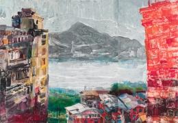 Brick building, ink, acrylic, paper on canvas, 260x370cm