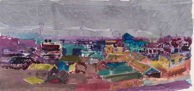 Village II., ink, acrylic, paper on canvas, 125x260cm