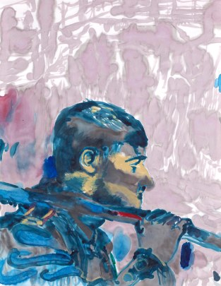 Landscape Carrier, ink, acrylic, paper on canvas, 70x55cm
