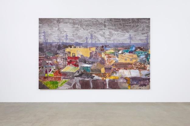 Než přišla bouře, tuš, akryl, papír na plátně, 190x305cm
